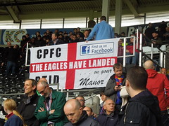 Palace supporters at Hull (Paul-M-Wright) Tags: city uk england football october crystal stadium 04 flag palace v match fans kc hull premier league supporters fanatics 2014 holmesdale ptid