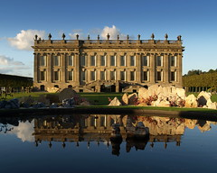 Reflections of Chatsworth House (Tony Worrall) Tags: county blue windows sky house reflection building art home wet water pool beauty architecture circle nice artwork artist tour view sale derbyshire country visit location front tourist blocks iconic chatsworth chatsworthhouse stately frontage derbys beyondlimits ©2014tonyworrall