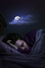 Dreaming (Taylor Daniels Photography) Tags: woman moon art fashion night clouds stars photography bed model fine dream dreaming nighttime taylor daniels conceptual pajamas fineartphotography tdphotography taylordanielsphotography