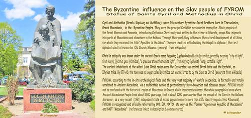 Ohrid, FYROM, Statue of Byzantine Greek brothers Cyril & Methodius