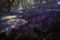 Abandoned railway bridge (threepinner) Tags: bridge mamiya 50mm iso100 mine hokkaido ruin railway 北海道 positive coal press f63 hokkaidou mikasa selfdeveloped 三笠 sekor super23 幌内 horonai