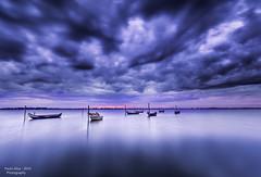 Ria de Aveiro - Cais da Mamaparda (paulosilva3) Tags: blue sunset sky seascape portugal misty clouds canon de landscape boats twilight minimalism ria aveiro waterscape mistic 6d murtosa leefilters proglass mamaparda