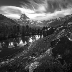 Matterhorn (christian.denger) Tags: schweiz wallis matterhorn hiking outdoor berge alpen see zermatt grindjisee bw black white visit travel chris denger canon lee filters stone storm long exposure nd landschaft landscape photography