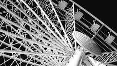 SGW (No Great Hurry) Tags: mono monochrome noiretblanc ferris seattlegreatwheel seattle nogreathurry robinmauricebarr bnw blacksky structure engineering metalwork spokes prime 50mm lines metal detail details white black linesandcurves architectonic géométrie innamoramento lookup lookingup