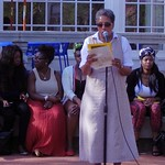 Prof. Teresa Barnes, History, speaks at the Bring Back Our Girls rally on May 7, 2014