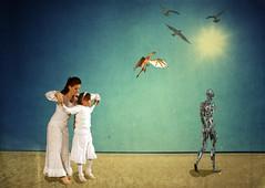 The cyborg and the dragon. (Mario in arte Akeu) Tags: cyborg dragon theatre fera ferateatro sun blue dance horizon