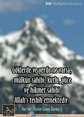 Kerim Kur'an 62-1. (Oku Rabbinin Adiyla) Tags: allah kuran islam ayet ayetler ayetullah hadis muslim sünnetdua dualar pray prayer mountain sky