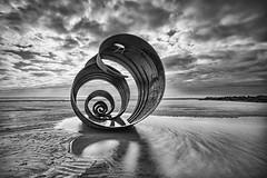 Mary's Shell (Mister Oy) Tags: marys shell cleveleys blackpool beach art sculpture publicart spiral shapes mono monochrome blackandwhite bw longexposure fujixpro2 fuji1024mm seaside coast coastal reflection