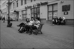 DR150802_0828D (dmitry_ryzhkov) Tags: bench sit sitting seat kid kids boy children shawl tourist arab group converse conversation art city europe russia moscow documentary journalism street urban candid life streetlife outdoor streetscene close scene streetshot image streetphotography candidphotography streetphoto moment light shadow photography shot people population resident inhabitant person live portrait streetportrait candidportrait unposed public face eyes look stranger woman women lady sony alpha day daylight lights shadows black blackandwhite bw monochrome white bnw blacknwhite