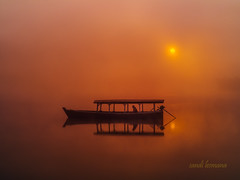 pangalengan (sandilesmana28) Tags: cloud boat orange misty water reflection pangalengan west java indonesia sunrise
