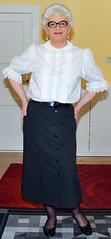 Ingrid023822 (ibach411) Tags: pleatedskirt faltenrock buttonthrough durchgeknöpft blouse bluse mature