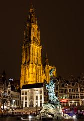 Grote markt en kathedraal Antwerpen (Stijn Daniels) Tags: grote markt kathedraal antwerpen antwerp longexposure brabo canon rebel 600d city