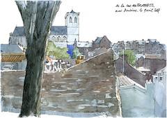 De la rue des Remparts (gerard michel) Tags: belgium liège église rue panorama sketch croquis architecture aquarelle watercolour