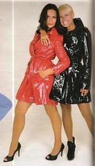 Luíza Brunet and Xuxa in vinyl trenchcoats (PVC Fashion) Tags: luíza brunet xuxa meneghel shiny sexy red black pvc vinyl plastic trenchcoat trench coat jacket clothing fashion beauty celebrity celebrities women