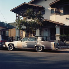 Patchwork Caddy (ADMurr) Tags: rolleiflex 35 tessar zeiss kodak portra car shadow roof triangles la caa112 cadillac