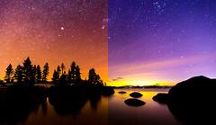 Lake Tahoe Split View (JarrodLopiccolo) Tags: laketahoe nevada sandharbor night stars post processing techniques astrophotography water landscape blue outdoor orange pink purple trees pinetrees longexposure