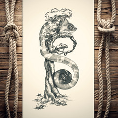 Bhameleon (reXraXon) Tags: raxon art artwork pencilart drawing handdrawing sketch pencilsketch typography lettering handlettering letteringart chameleon tree