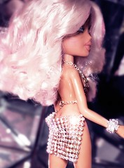 Everybody, Move Your Body (alexbabs1) Tags: bratz dolls disco passion 4 fashion cloe wave 2 spring 2007 tan blonde cunt glam vibes paris hilton vintage 1970s 2000s ooak farrah crystal mini dress club ball sarah palins bangs