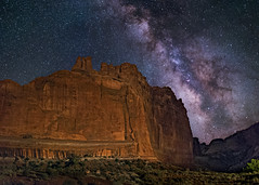Tower of Babel (Wayne Pinkston) Tags: babel tower towerofbabel arches archesnationalpark utah butte sky night nightsky nightlandscape nightphotography lowlevellighting nightscape waynepinkston waynepinkstoncom lightcrafter lightcraftercom stars starrynight starscape milkyway galaxy cosmos theheavens astrophotography landscapeastrophotography widefieldastrophotography nikon ddesert wideangle