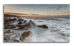 Splash At Sunset (Steven Peachey) Tags: sunset seascape sky clouds beach rocks water seaham pier northeastcoast northeastengland northeast uk england durhamheritagecoast ef1740mmf4l canon6d lee09gnd leefilters exposure stevenpeachey lightroom seahamchemicalbeach explored explore