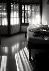 Messy Morning (❀Janey Song) Tags: bedroom morning sunshine shadow windows indoor bed travelling costarica hotel blackwhite black white bw