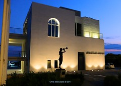 The Blare of Peace DSCF4193 (Chris Maroulakis - Off for a few weeks) Tags: glyfada athens town hall bronze statue nicolas sculptor blare peace fujix30 sunset lights chris maroulakis 2017