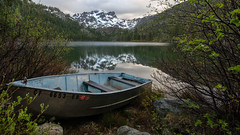 Lower Sardine Lake (Middle aged Nikonite) Tags: sardine lake california boat overcast mountain forest landscape outdoor reflection snow solitude nikon d7000 trees vista view