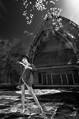 Daydreaming About You (Arief Setiawan) Tags: indonesia asian southeastasia morning summer tropical blackandwhite bw monochrome scenic elevatedview lowangleview outdoor leaf fashion casual beauty woman female health sky blue denpasar bali