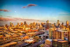 Melbourne from Melbourne Star-10 (Quick Shot Photos) Tags: city travel sunset moon skyline melbourne docklands pods observationwheel melbournestar