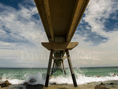 Under the Bridge (David Cucaln) Tags: bridge sea sky beach water puente mar sand agua rocks heaven waves playa olympus arena cielo olas rocas badalona 2014 e510 cucalon pontdelpetroli 1442mm davidcucalon