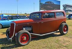 Ardun Flathead-powered 1934 Ford (Thumpr455) Tags: auto orange ford car nc nikon october automobile northcarolina tudor hotrod concord 1934 flathead d800 2014 goodguys charlottemotorspeedway ardun southeasternnationals afnikkor3570mmf28dworldcars