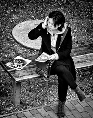 Lady in black (Constantin Florea) Tags: life street city girls portrait people urban blackandwhite bw woman monochrome face lady canon blackwhite faces candid streetphotography monotone streetphoto capture