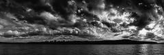 Barge Dock Pano 02 BW (Dave Edens) Tags: sky blackandwhite panorama nature monochrome clouds river alabama