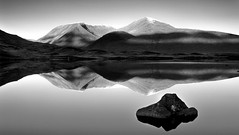 Mirror_Panorama_mono (teuchter10) Tags: panorama mountains reflection water rock landscape mono scotland highlands fort william medium format moor davidson rannoch greig
