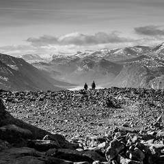 (Svein Nordrum) Tags: autumn blackandwhite bw mountain mountains fall nature norway square landscape outdoors scenery view stones explore squareformat jotunheimen gjende besseggen explored veslefjell