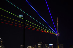 Tron-to (BB ON) Tags: city light toronto ontario canada colour tower art festival skyline night rainbow cntower perspective
