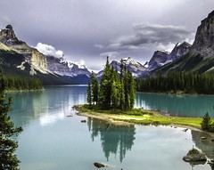 Spirit Island (tboy83634) Tags: trees lake canada mountains reflection island jasper cloudy glacier jaspernationalpark glacialwater