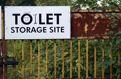 Toilet Storage Site (pix-4-2-day) Tags: sign fence fun site gate funny toilet storage schild lustig tor zaun let witzig