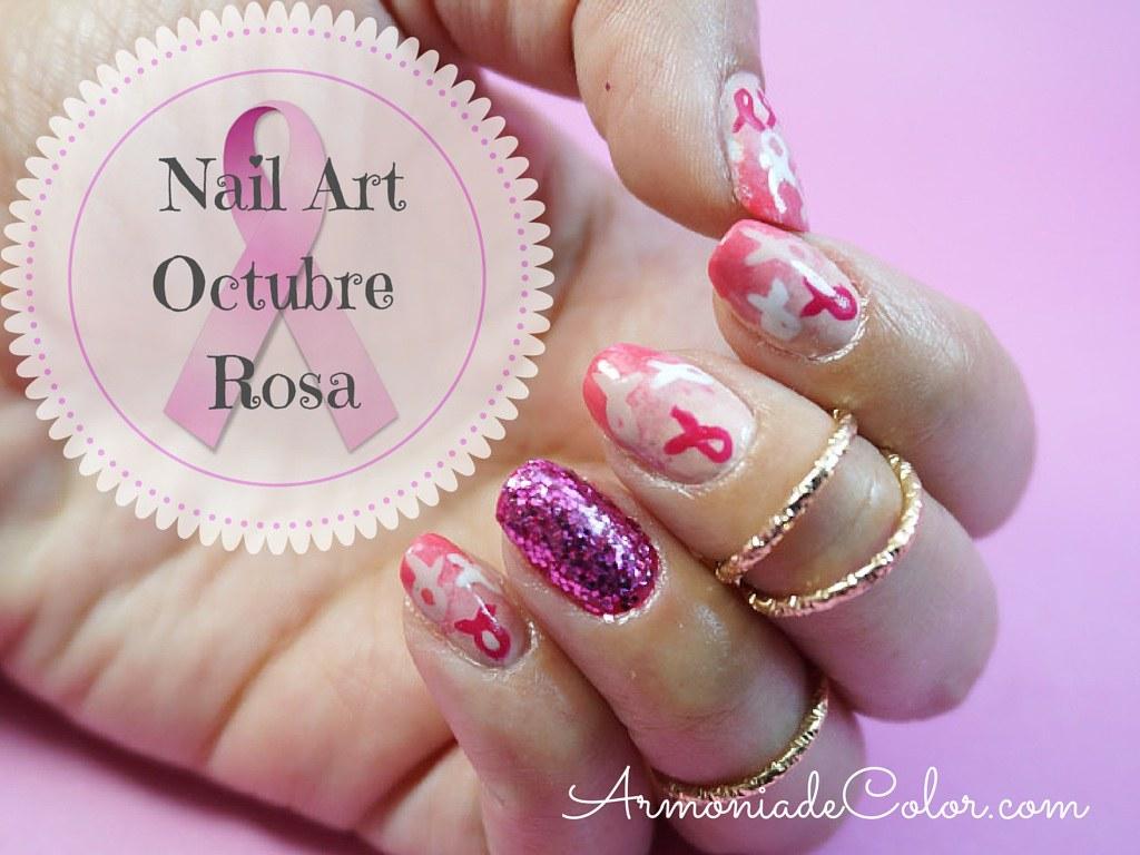 diseño de uñas octubre rosa 2