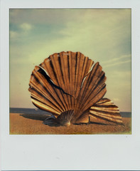 Scallop VI (Pictures from the Ghost Garden) Tags: sculpture color colour slr art film beach vintage project polaroid sx70 coast suffolk seaside britten coastal filter tip 600 integral instant benjamin aldeburgh instantcamera folding density maggi composers impossible ip neutral polaroidsx70 onestep instantfilm foldingcameras vintagecameras nd4 hambling impossibleproject