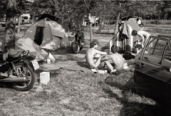 Vallon-Pont-d'Arc Camp Ground 1982 (MoJo_3016) Tags: trip travel camping camp bw classic 1982 tour young twin tent nb retro we unterwegs motorbike journey 80s when moto motorcycle sw were motor impressions impressionen eighties backroad motoguzzi ontheroad touring zelt caferacer ardeche v50 reise laverda enroute motocicleta motocycle motorrad motorcykel youngtimer zelten motocicletta motocyclette schwarzweis achtziger motociclo motorrijwiel nebenstrasen landstrassen nebenstrassen laverda750 motoimpressionen bwmotorcycleimpressions motorcycleimpressions