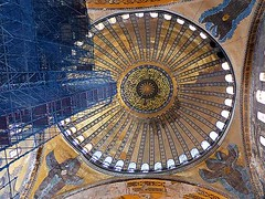 Three Angels (Kombizz) Tags: building architecture turkey three scaffolding minaret muslim islam religion trkiye istanbul mosque angels dome sultan underconstruction hagiasophia masjid turk osman greekorthodox ayasofya  ashlar sanctasophia fourangels turkishempire ottomanempire underthedome threeangels republicofturkey fatihsultanmehmed 4angels isidoreofmiletus anthemiusoftralles kombizz sanctasapientia ottomandynasty fatihdistrict 1070267 tallscaffolding