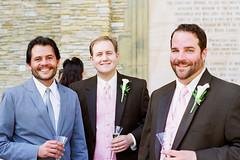 (deanmackayphoto) Tags: pink blue wedding brown film smile 35mm nicole champagne tie suit groomsman erik guest