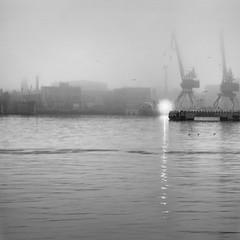 fog (Rambynas) Tags: bw port blackwhite squareformat klaipeda lithuania lietuva curonianlagoon klaipėda kuršiųmarios
