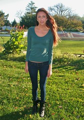 Model at Dawn (PhotoAmateur1) Tags: park morning blue autumn trees portrait woman brown cold green fall feet beautiful beauty smile face grass weather smiling shirt female hair neck nose photography sweater model eyes long photoshoot arms legs boots head top background gorgeous country sunny lips jeans denim tall brunette lovely shoulder photosession collarbone october42014