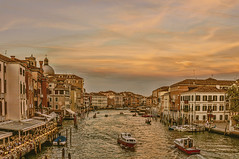 Evening on the Grand Canal (pollylew) Tags: venice sky buildings boats evening canal grandcanal
