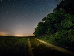 Night Drive (Painted Light Studio) Tags: road blue trees summer sky green nature grass wisconsin night yard dark stars landscape lights drive darkness unitedstates deep fisheye clear astrophotography lane gravel milkyway 2014 75mm rokinon southwayne micro43