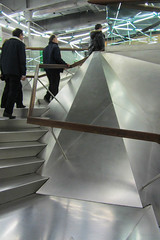 Up They Go (Jocey K) Tags: madrid lighting people building reflections spain stainlesssteel steps ceiling railing caixaforum archtiecture industrialarchitecture caixaforummuseummadrid