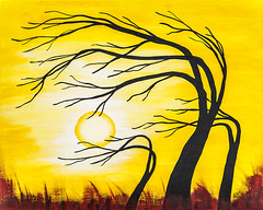 Afternoon Silhouette (Urban Art District) Tags: original trees sunset red summer sun black hot tree brick art crimson silhouette yellow horizontal modern scarlet painting print outdoors gold golden solar artwork paint acrylic gallery day afternoon bright wind contemporary burgundy maroon bare branches fineart goldenrod highcontrast surreal wrap windy sunny blowing canvas fantasy prints daytime leafless decor bold saffron garnet claret balmy darkred foamboard alabaster giclee melissasmith urbanartdistrict