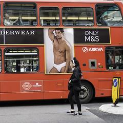 ONLY M&S (stevedexteruk) Tags: street red bus male london westminster pants transport pedestrian marks oxford mens ms headphones shorts spencer underpants arriva 2014